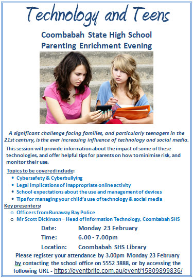 Technology and Teens: Parent Enrichment Evening 23rd February